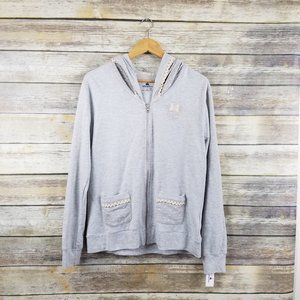 Disney Parks Minnie Mouse Zip Up Sweatshirt Gray